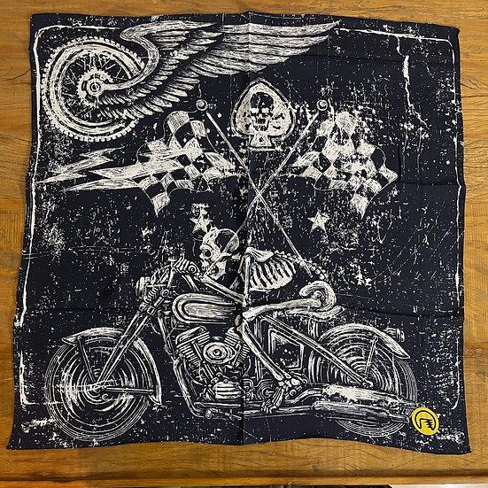 Lenço de seda Dimi Custom® Skull Rider Azul e Branco