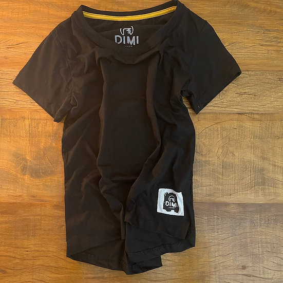T-Shirt Dimi Custom® Skullrider Feminina - preta e grafite