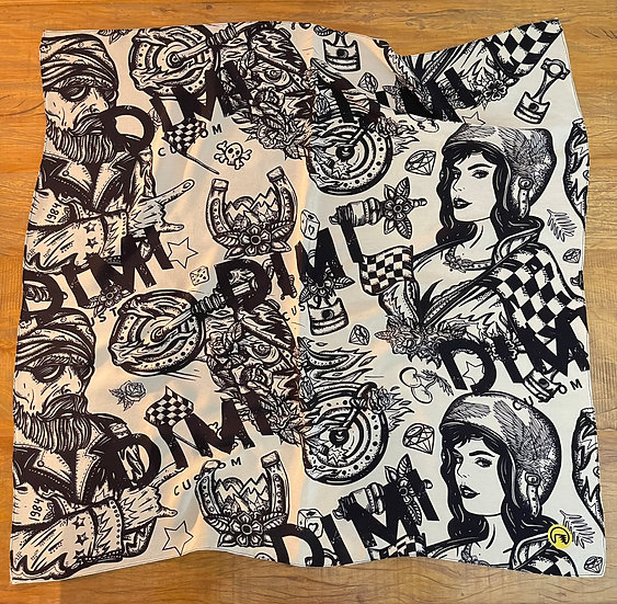 Lenço de seda Dimi Custom® Couple Preto e Branco