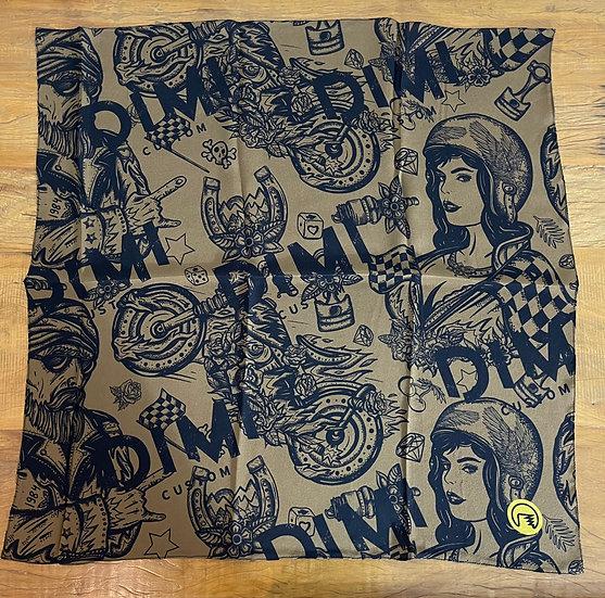 Lenço de seda Dimi Custom® Dimi Couple Preto e Marrom