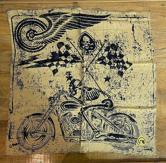 Lenço de seda Dimi Custom® Skull Rider Mostarda e Preto