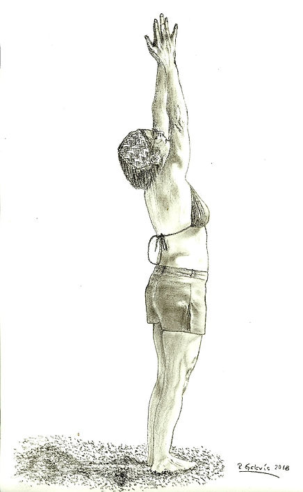 Drawing of woman on the beach in a yoga pose
