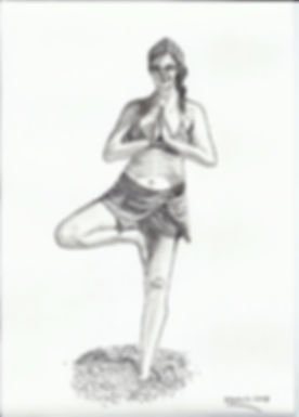 Drawing of woman on the beach in a yoga pose: the tree