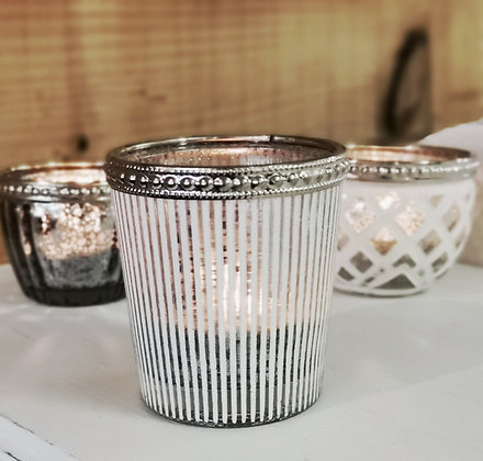 Stripe Glass Candle Holder