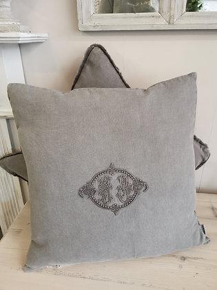 Grey Monogram Cushion
