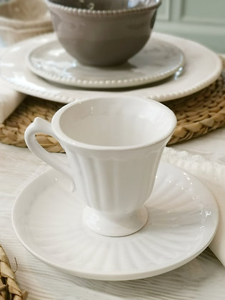 White Concave Cup & Saucer