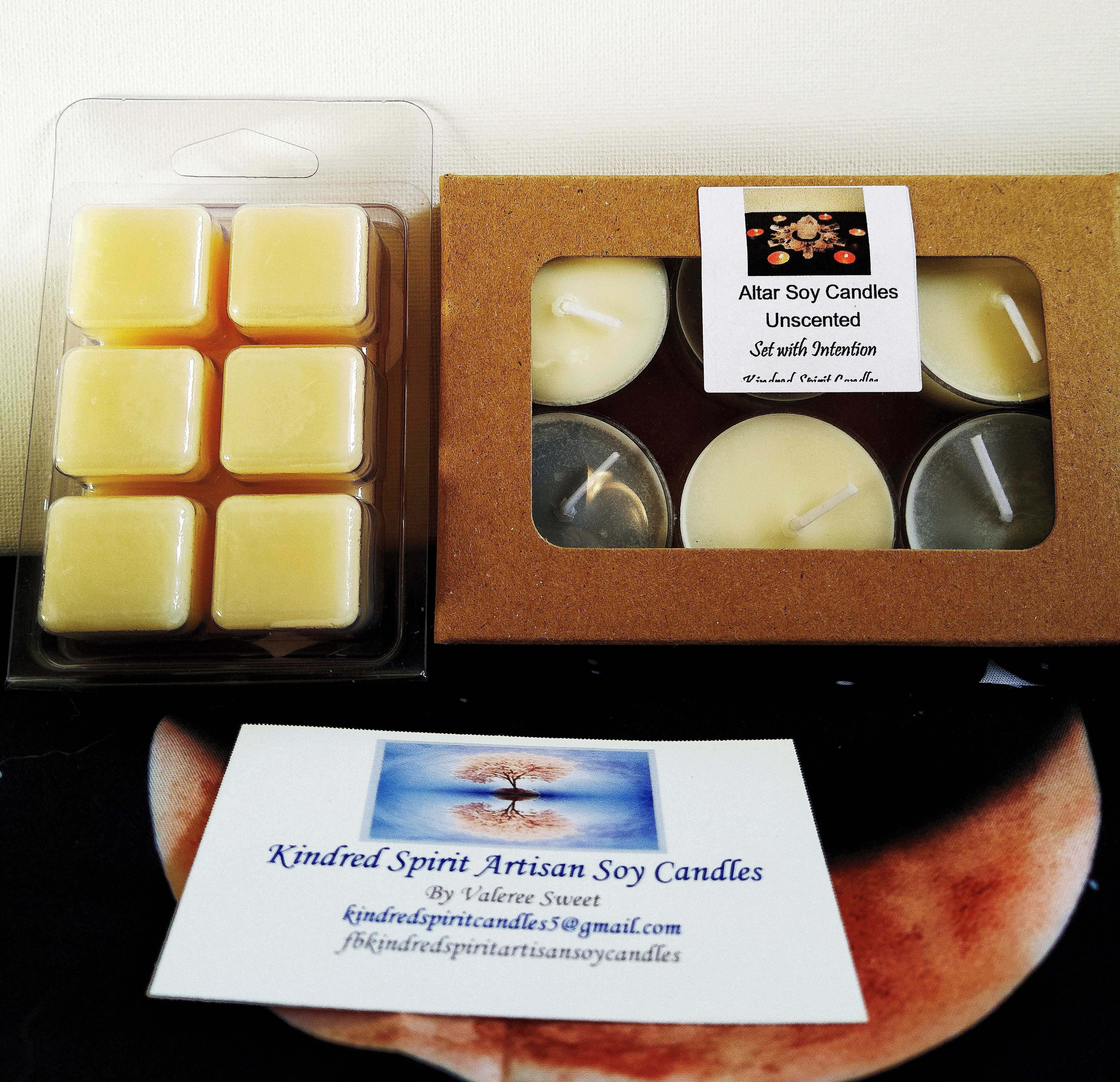 Unscented Soy-Based Altar Candles and Wax Melts