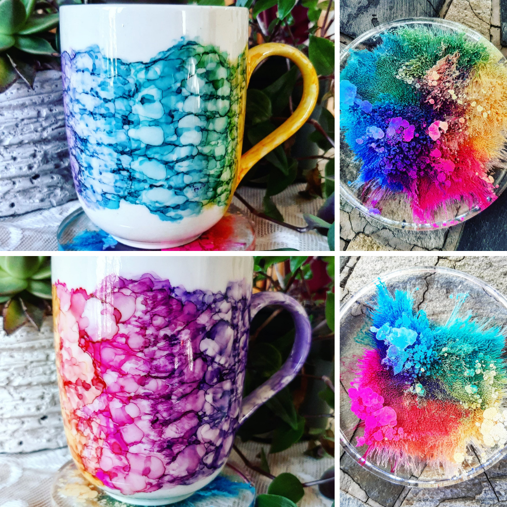 Hand Painted Mugs with Resin coasters