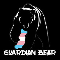 """Redbubble print option: """"Guardian Bear"""" a silhouette of a bear with their forepaw around a trans cub"""