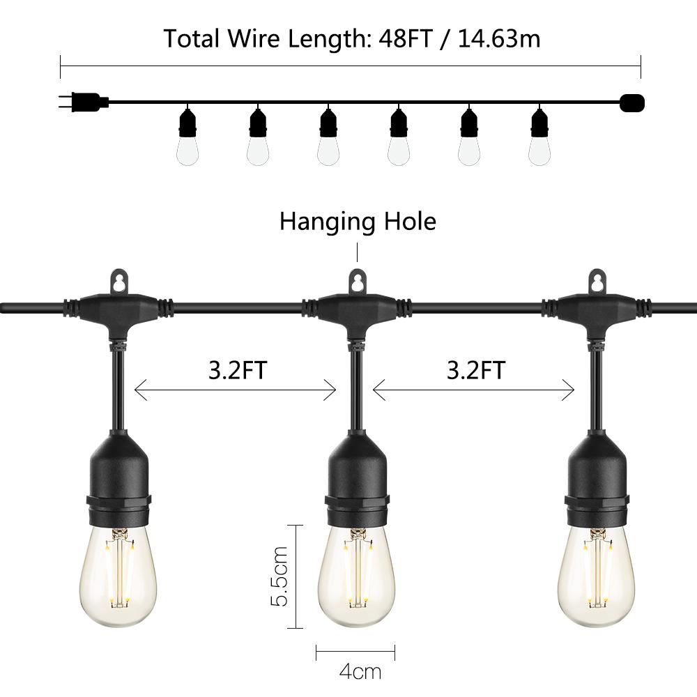 Edison Bulb string lights E26