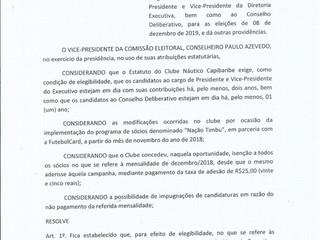 Comissão Eleitoral - Resolução 04/2019