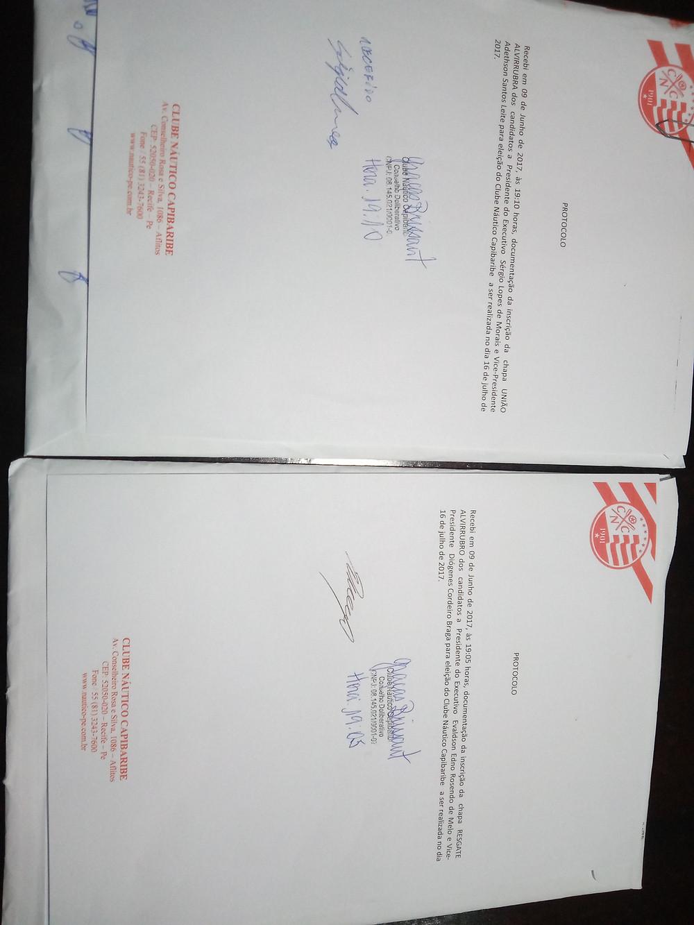 Requerimentos de inscrição de chapas protocolados