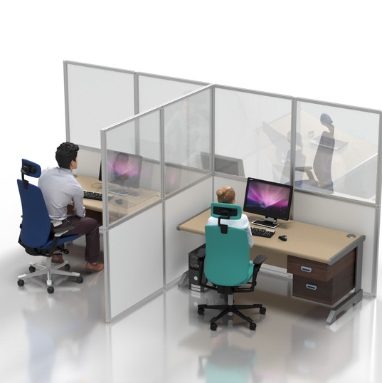 "Desk Partition: Clear ""T-shape"""