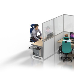 """Desk Partition: 2m """"L-shape"""""""