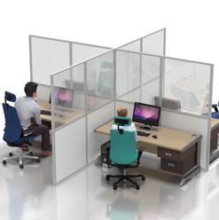 """Desk Partition: 2m """"X"""" Configuration"""