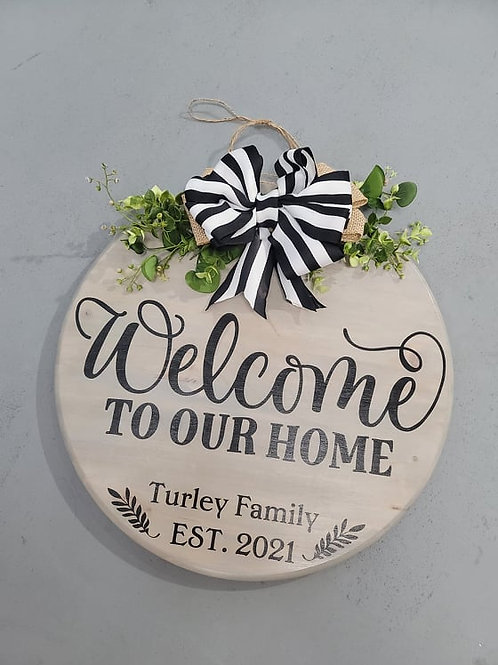 Welcome to our Home Doorhanger- family est date