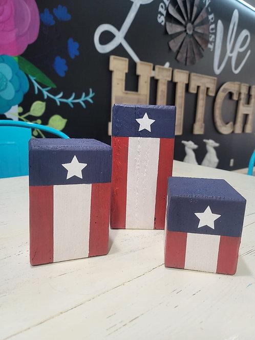 American Flag Fire Cracker blocks!