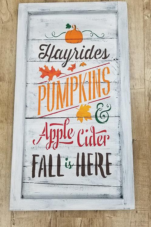 Autumn Farmhouse plank sign- White/grey