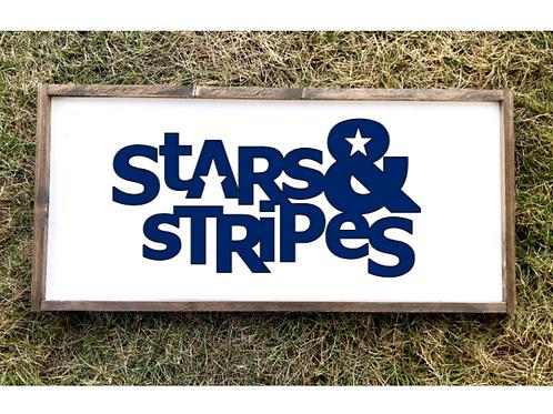 Stars n Stripes July Decor- med sign