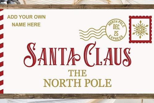 Wooden Santa Letter sign with frame