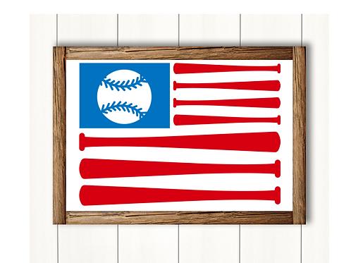 Baseball Flag Fourth Of July-  Lg Sign