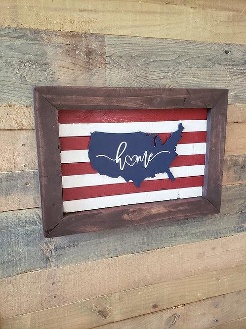 Framed Home USA sign