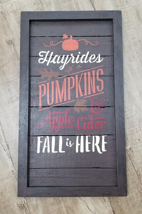 Autumn Farmhouse plank sign- brown
