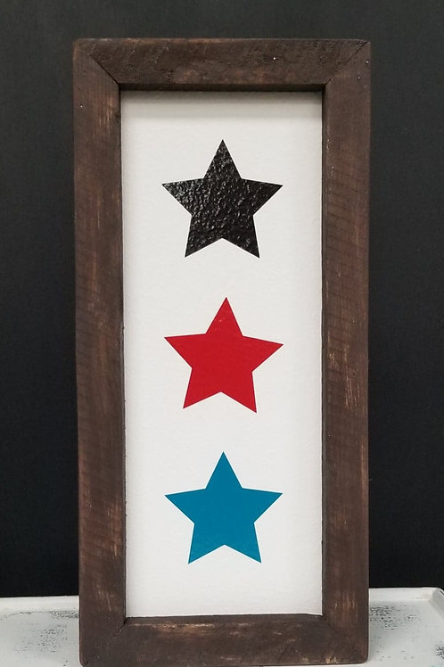 Three Stars framed sign- Pick your colors!