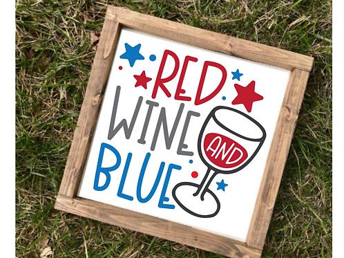 Red Wine & Blue July Decor- med sign