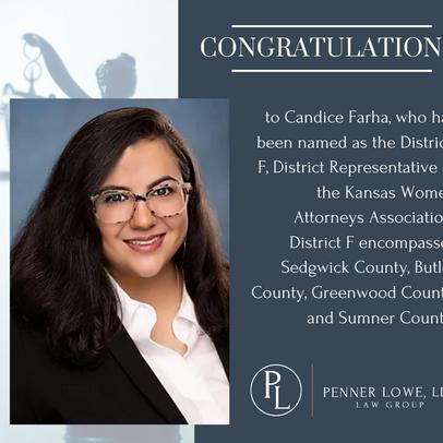 Candice Farha named Kansas Women Attorney Association Representative.