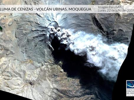 Imagen del volcán Ubinas tomada por el satélite PerúSAT-1