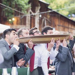 Shot-ski at the wedding reception