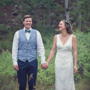 Bride and Groom at outdoorsy wedding
