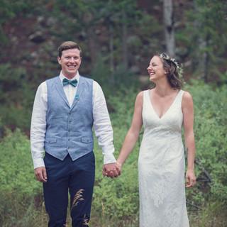 Bride and Groom at outdoorsy wedding