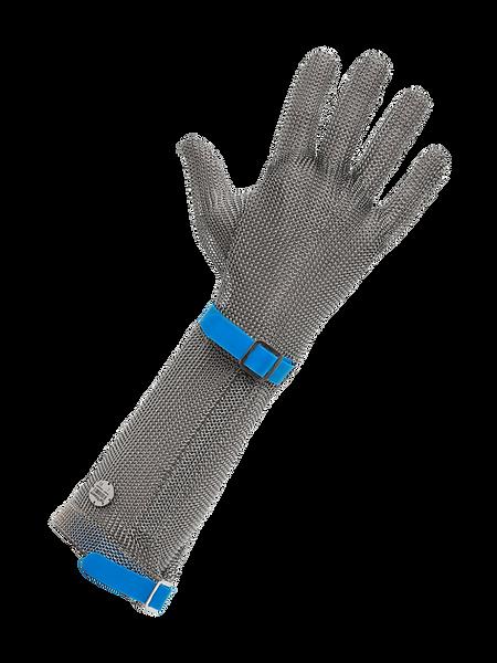 meshFlex® STECHSCHUTZHANDSCHUH (Edelstahlringgeflecht) meshFlex® - lange Stulpe, mit auswechselbarem Kunststoffband und detektierbarem Edelstahlringgeflecht