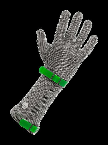 meshFlex® STECHSCHUTZHANDSCHUH (Edelstahlringgeflecht) meshFlex® - mittlere Stulpe, mit auswechselbarem Kunststoffband und detektierbarem Edelstahlringgeflecht