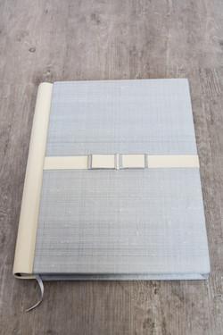 Italian 16x12 Cream Leather and Silver Silk Album Cover