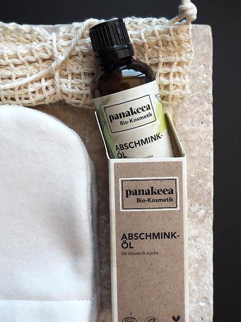 3 Abschmink-/ Waschhandschuhe Fleece & Frottee + Wäschenetz + Abschminköl
