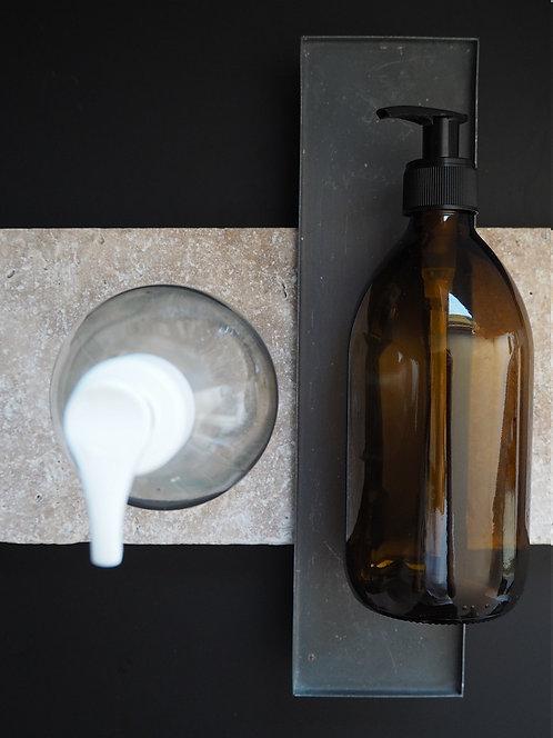 Glasflasche mit Pumpkopf und Verschluss | 500 ml
