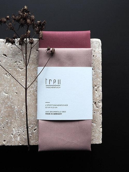 2 Stofftaschentücher aus Bio-Baumwolle | altrosa & dunkelrosa