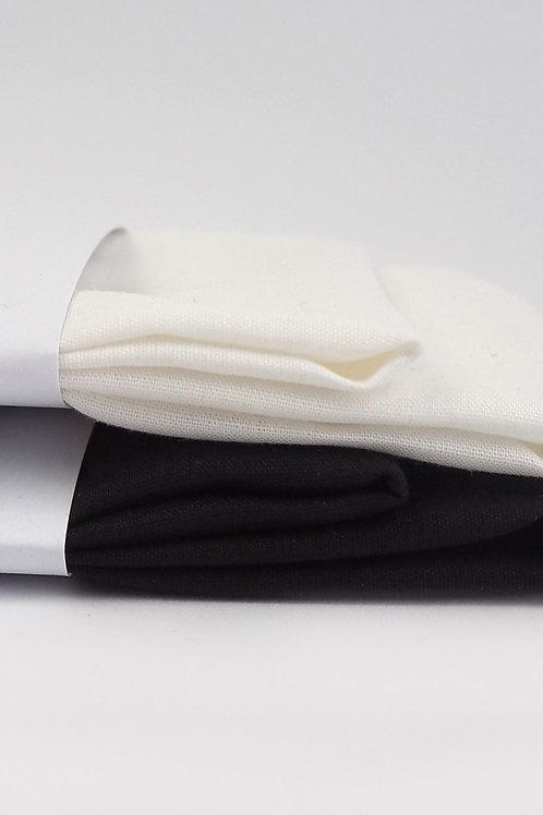 2 Stofftaschentücher aus Bio-Baumwolle | weiß oder schwarz
