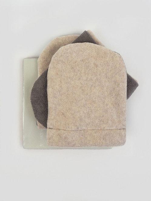 3 Abschmink-/ Waschhandschuhe aus Fleece & Frottee   nude meliert