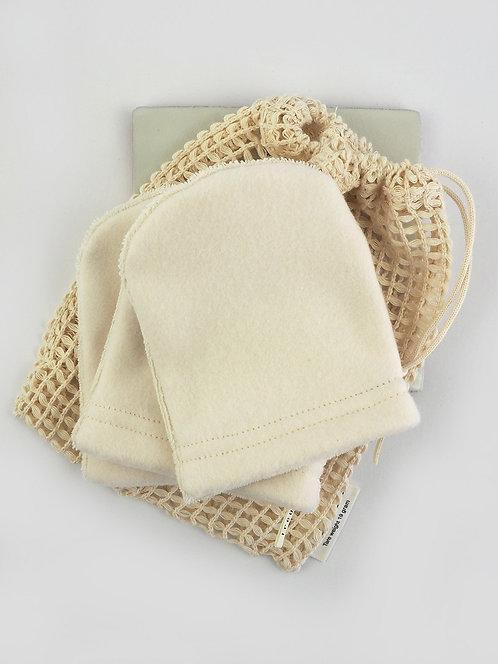 3 Abschmink-/ Waschhandschuhe aus Fleece & Frottee + Wäschenetz | ecru