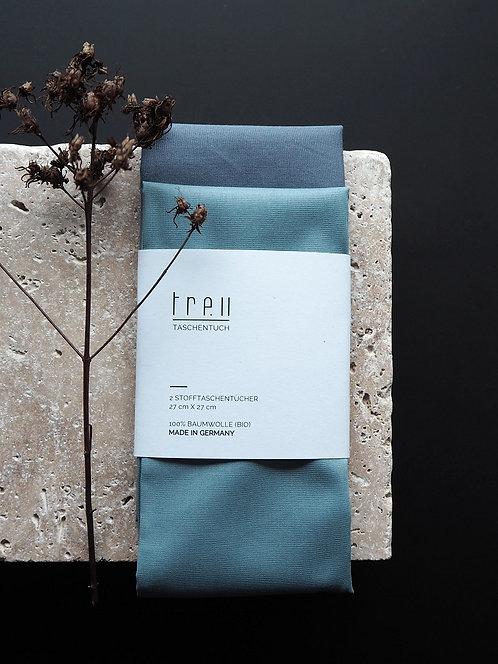 2 Stofftaschentücher aus Bio-Baumwolle | steinblau & steingrau