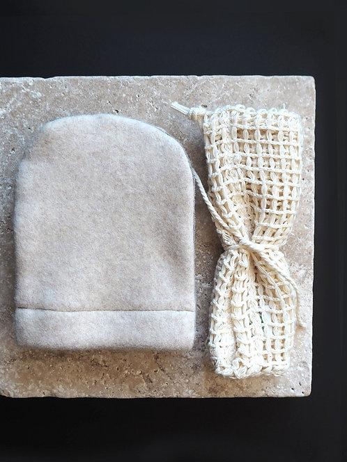 3 Abschmink-/ Waschhandschuhe aus Fleece & Frottee + Wäschenetz   nude meliert