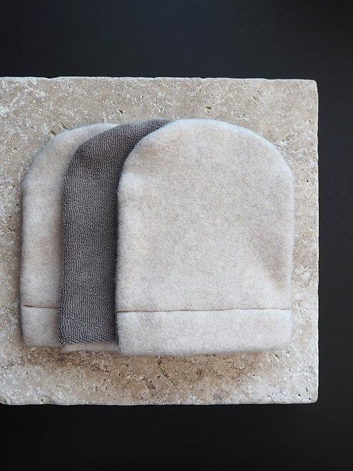 3 Abschmink-/ Waschhandschuhe aus Fleece & Frottee | nude meliert