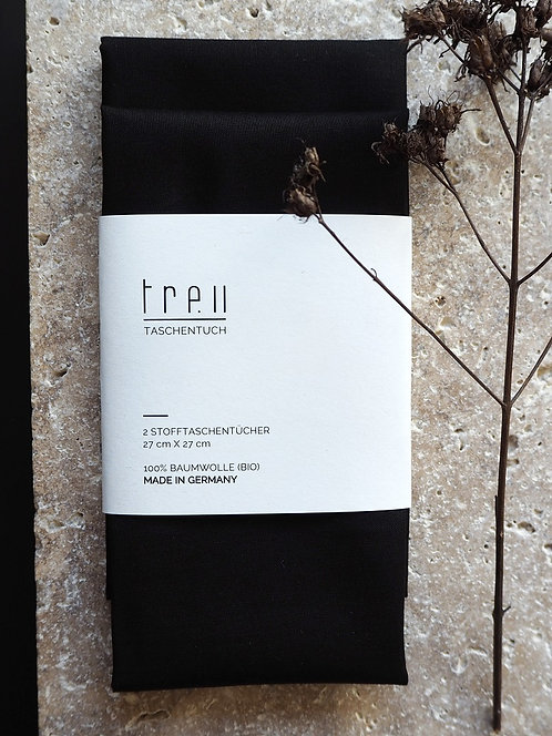 2 Stofftaschentücher aus Bio-Baumwolle | schwarz