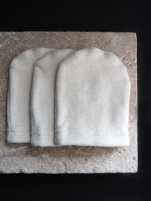 3 Waschhandschuhe aus Frottee & Frottee | ecru