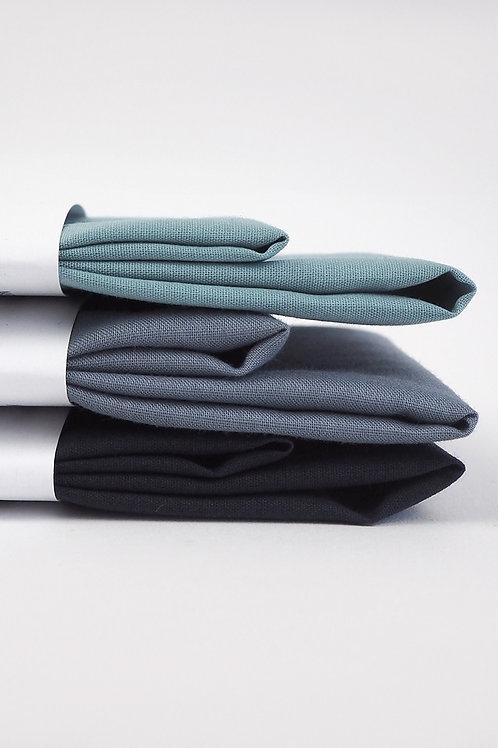 2 Stofftaschentücher aus Bio-Baumwolle   verschiedene blautöne