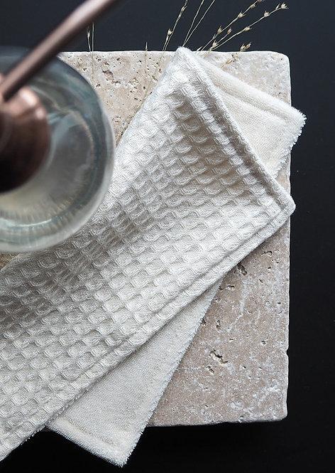 2 Spül- und Reinigungslappen aus Waffelpique & Frottee | ecru & ecru